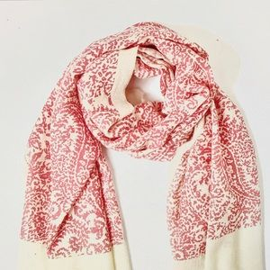 Vintage paisley scarf Rose Orchid /Natural